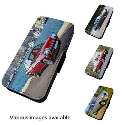 Printed Faux Leather Flip Phone Case For IPhone- V4 Various Classic Car Motorist • 9.75£