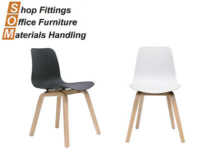 AU149 • Buy Lucid Plastic Hospitality Visitor Event Chair With Timber Base White/black Seat