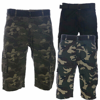 Mens Cemo Army Chino Shorts Knee Length Roll Up Work Pants Cotton Combat Summer  • 11.99£