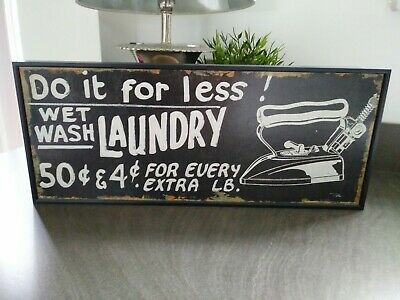 LAUNDRY Vintage Style Black Wooden Sign. Shabby Chic Retro Home Gift 52cm X 22cm • 6.99£