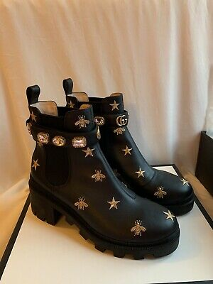 Gucci Womens Embroidered Black Ankle Boots UK 7 • 700£