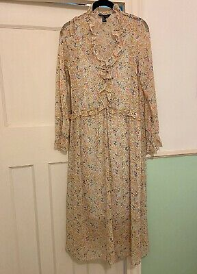 Pretty Frilled Floral Midi Dress By New Look, Summer, Long Sleeves, Size 8 • 6£