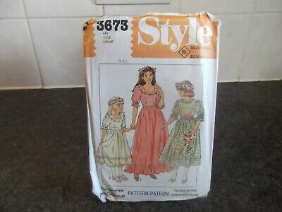 Vintage Style Sewing Pattern 3673, Girls Lined Bridesmaid Dress Size 4 & 6 Uncut • 3.99£