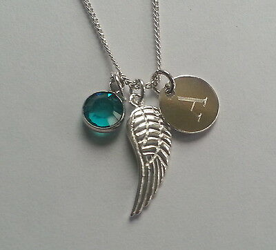 Sterling Silver Personalised Angel Wing Pendant Necklace Initial Birthstone • 15.99£