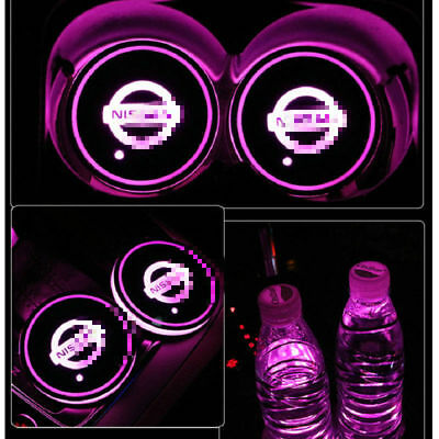 $14.39 • Buy 2PCS For Nissan Car Auto Atmosphere Lights Colorful LED Car Cup Holder Pad Mat