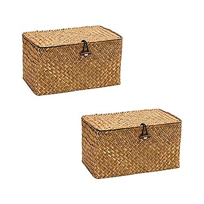£27.86 • Buy WOOD MEETS COLOR Seagrass Storage Baskets With Lid 26×14.8×14.4CM Set Of 2 Box