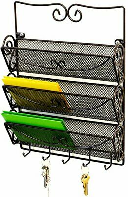 $21.94 • Buy Wall Mount Mail Rack 3 Slot Letter Organizer With Key Holder Metal Bronze Office