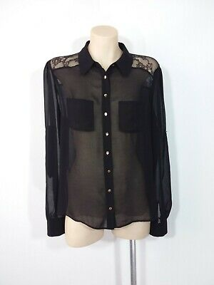 AU18.95 • Buy Forever New Size 12 Black Sheer Long Sleeved Fabric & Lace Top Blouse