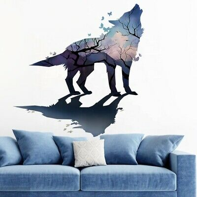 £7.99 • Buy Removable Wolf Dog Wall Sticker Decal Children/kids Bedroom Mural Art Poster
