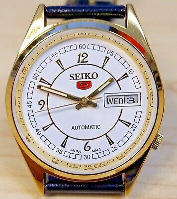 $ CDN15.13 • Buy Seiko 5 Automatic Watch, Many New Parts. New Leather Strap. See Description