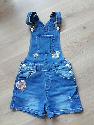 Girl's Denim Sequin Dungarees Shorts **10-11 Years** • 4£