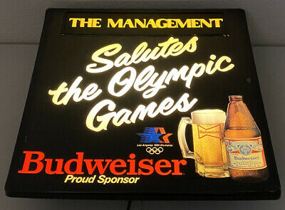 $ CDN112.22 • Buy Budweiser Beer Lighted Bar Sign 1984 Salutes Olympic Games Vintage RARE TESTED