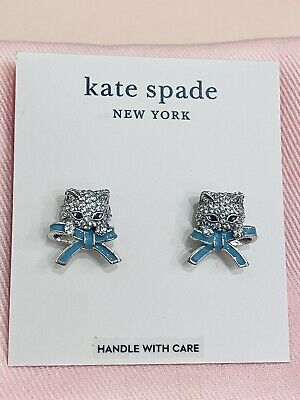 $ CDN139.56 • Buy NWT Kate Spade Pretty Kitty Pave Stud Earrings, Silver Tone, Cat Perrr-fect Gift