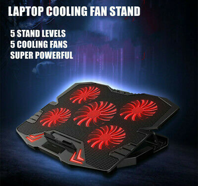 AU39.95 • Buy Laptop Gaming Cooler Pad 5 Extra Big Powerful Fans With Stand LED Lights 12 -17