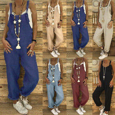 AU22.65 • Buy Women Plus Size Overalls Casual Loose Dungarees Romper Baggy Playsuit Jumpsuit W
