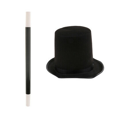 £4.73 • Buy Magician Black Top Hat Magic Wand Props Set Party Fancy Dress Stage Costume