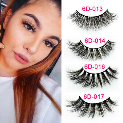 ☆SKONHED 5Pair 3D Long Mink Hair False Eyelashes Thick Cross Lashes Wispy Fluffy • 3.99£