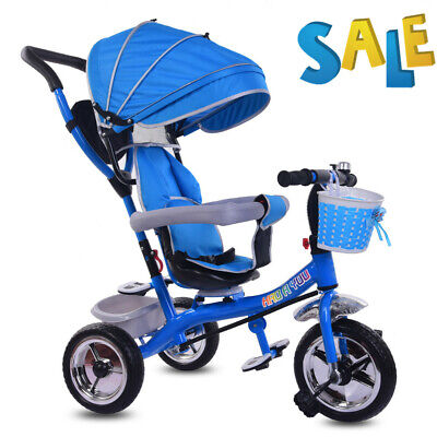 4 In1 Baby Trike Pedal Tricycle Push Along Stroller Toy Gift Blue For Little Boy • 59.88£
