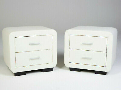 £119.99 • Buy PAIR Of Designer Bedside Tables WHITE Faux Leather Cabinet Night Stand