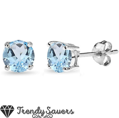 £2.99 • Buy 5mm Silver Round Stud Earrings Sky Blue Birthstone  Made With Swarovski Crystals