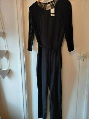 Ladies George Black Jumpsuit With Lovely Lace Detail Size 16 BNWT • 2.50£