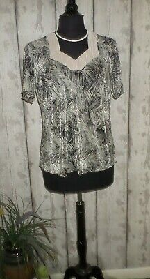 £7.50 • Buy Forever By Michael Gold Stone Black Stretch Crinkle Fabric Tunic Top Size 16/18