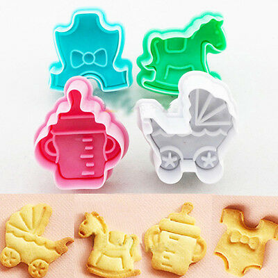 £4.49 • Buy 4Pcs/Kit 3D Baby Clothes Shower Hand Press Stamps Cookie Plunger Cutter Mold