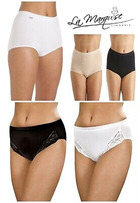 New Ladies 3 Pair Multipack La Marquise Lace / Plain Comfort Maxi Brief Knickers • 6.95£