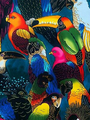 £10.45 • Buy Birds Of A Feather Fabric, Alexander Henry, Parrot Toucan Tropical Jungle