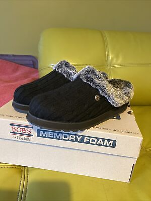Skechers Ladies Size 7 Bobs Ice Angel Slip On Slippers Memory Foam Fur Lined • 18£