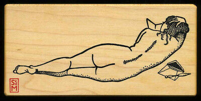 $10.90 • Buy NUDE LADY BACK READING MAIL Meer Image X-rare Rubber Stamp