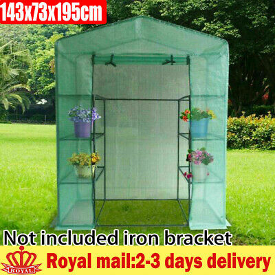 4 Tiers Walk-In Greenhouse Outdoor Garden Plant Shelter PE Cover 143x73x195cm • 28.90£