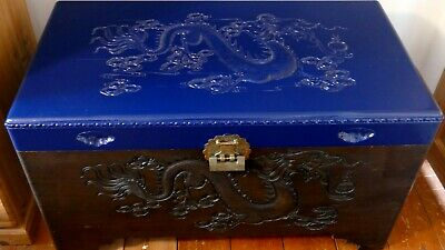 Oriental Camphor Wood, Good Quality Carved Dragon Blanket Box/Chest • 150£