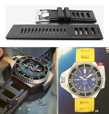BLACK Silicone Rubber Waterproof Watch Strap. 1970's Vintage Style Dive Band. • 20£