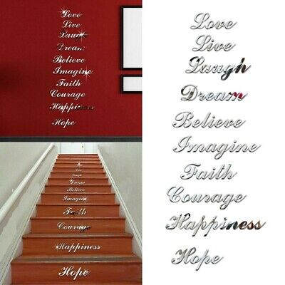 Acrylic Mirror Effect Quote Letters Word Decals Wall-Sticker Decor New • 7.61£