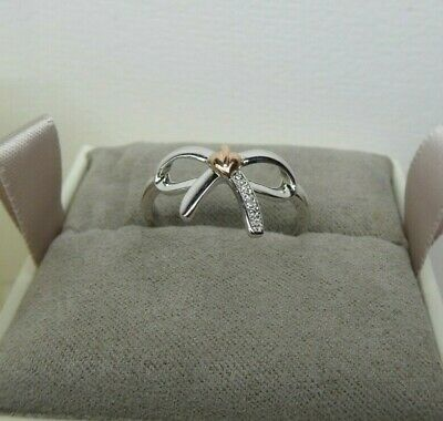 £58 • Buy Clogau Gold, Silver & 9ct Rose Gold Diamond Bow Ring, Size Q RRP £119