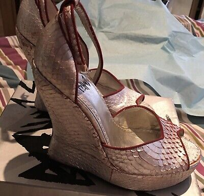 D Havz Terry De Havilland Platform Wedge Shoes UK 4, EU 37, Worn Once, Silver • 122£