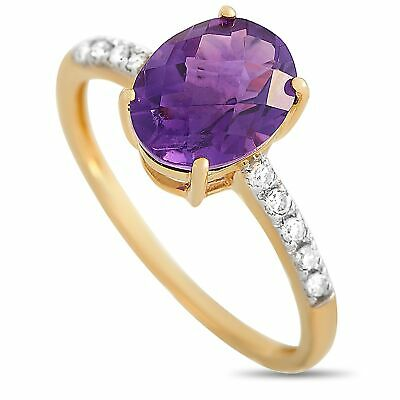 AU496.94 • Buy 14K Yellow Gold 0.10 Ct Diamond And Amethyst Oval Ring