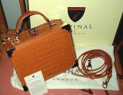 £225 • Buy Aspinal Of London Trunk Marmalade Croc Print Leather New In Box Dust Bag G.card