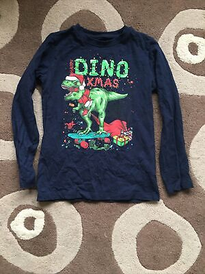 Boys Blue Zoo Age 8 - 9 Christmas Top Navy Blue Dinosaur • 2£