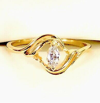 AU456.26 • Buy 14k Solid Yellow Gold 1/4 Ct Natural Marquise Diamond Solitaire Engagement Ring
