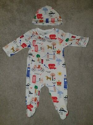 London Themed Blue Zoo Baby Grow / Sleepsuit With Matching Hat 0-3 Months • 2£
