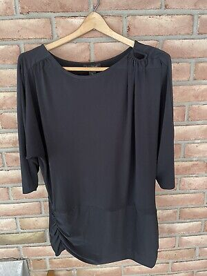$ CDN21.57 • Buy White House Black Market Tunic Top Size Large 3/4 Sleeve Black-gathered Sides