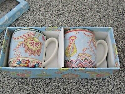 Collier Campbell London Gift Set 2 Mugs Flowers Floral Fine China  • 12.99£