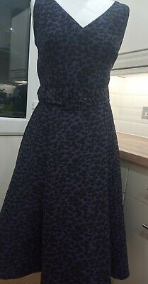 £28 • Buy Ladies Phase Eight Purple & Black Occasion Belted Dress Netted Underskirt 16