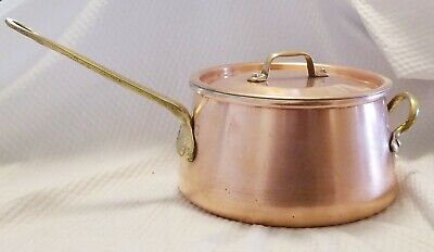 $ CDN62.49 • Buy Vintage Taurus Portugal 3 Qt Copper Tin Brass Bean Pot Saucepan