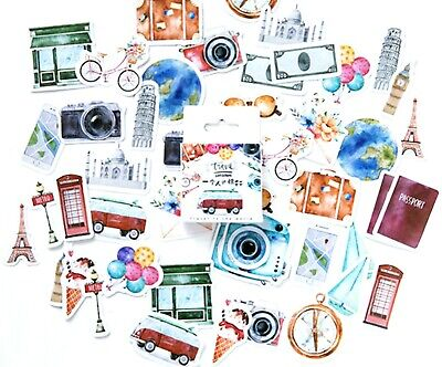 £3.29 • Buy TRAVEL STICKERS Watercolour Holiday Vintage Scrapbook Journal Diary Craft Deco