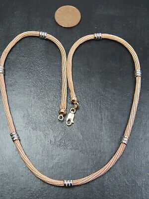 £412.95 • Buy VINTAGE 9ct ROSE YELLOW & WHITE GOLD WOVEN HERRINGBONE LINK NECKLACE 18 Inch