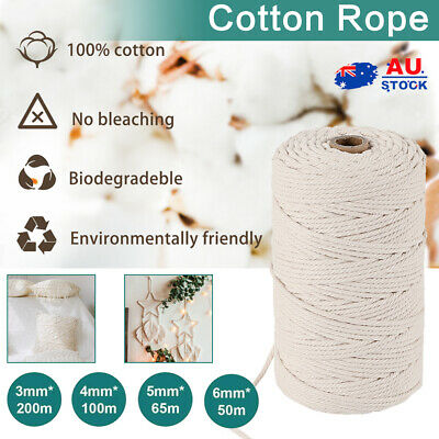 AU18.90 • Buy 3/4/5/6mm Macrame Rope Natural Beige Cotton Twisted Cord Artisan Rope Hand Craft