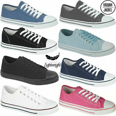 $ CDN18.79 • Buy Ladies Womens Canvas Shoes Plimsolls Gym Trainers Casual Flat Lace Up Pumps Size